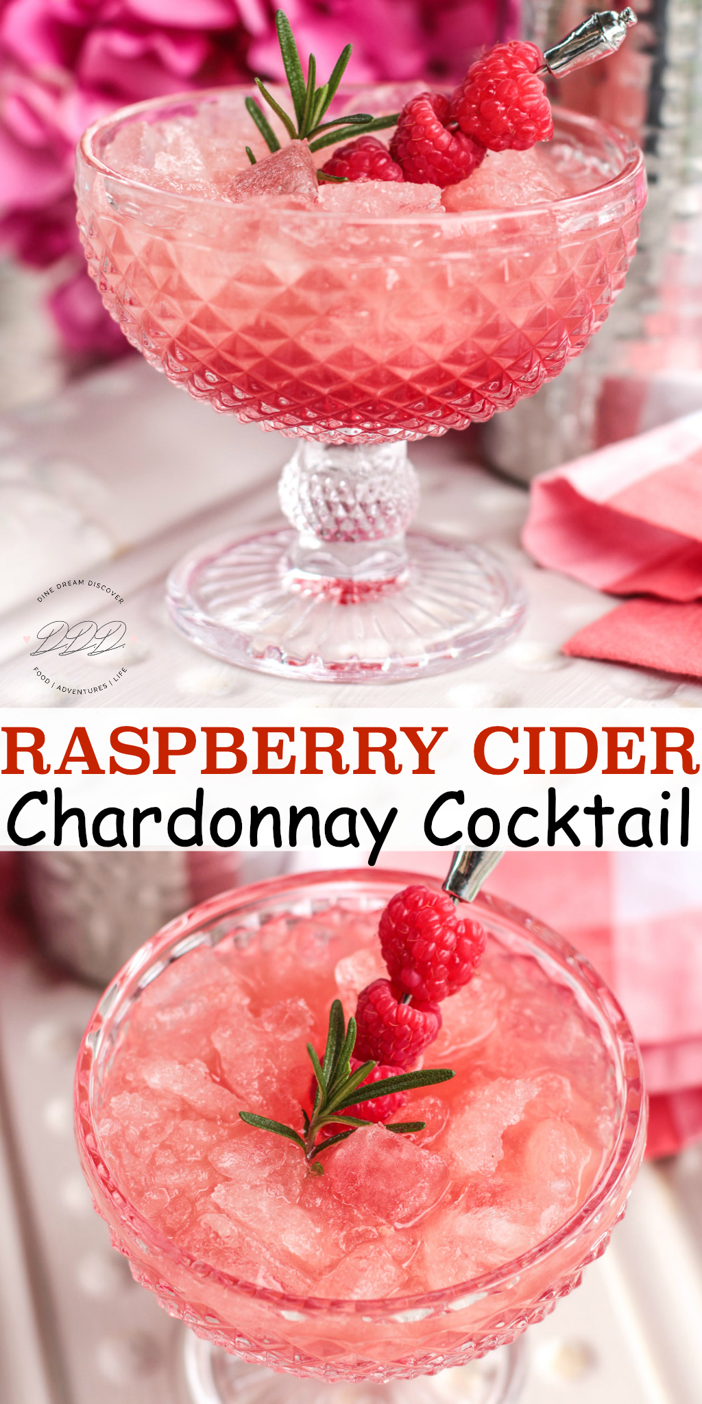 Raspberry Cider Chardonnay Cocktail recipe is a sweet and tangy cocktail that will tickle your tastebuds and set the mood for a romantic evening.