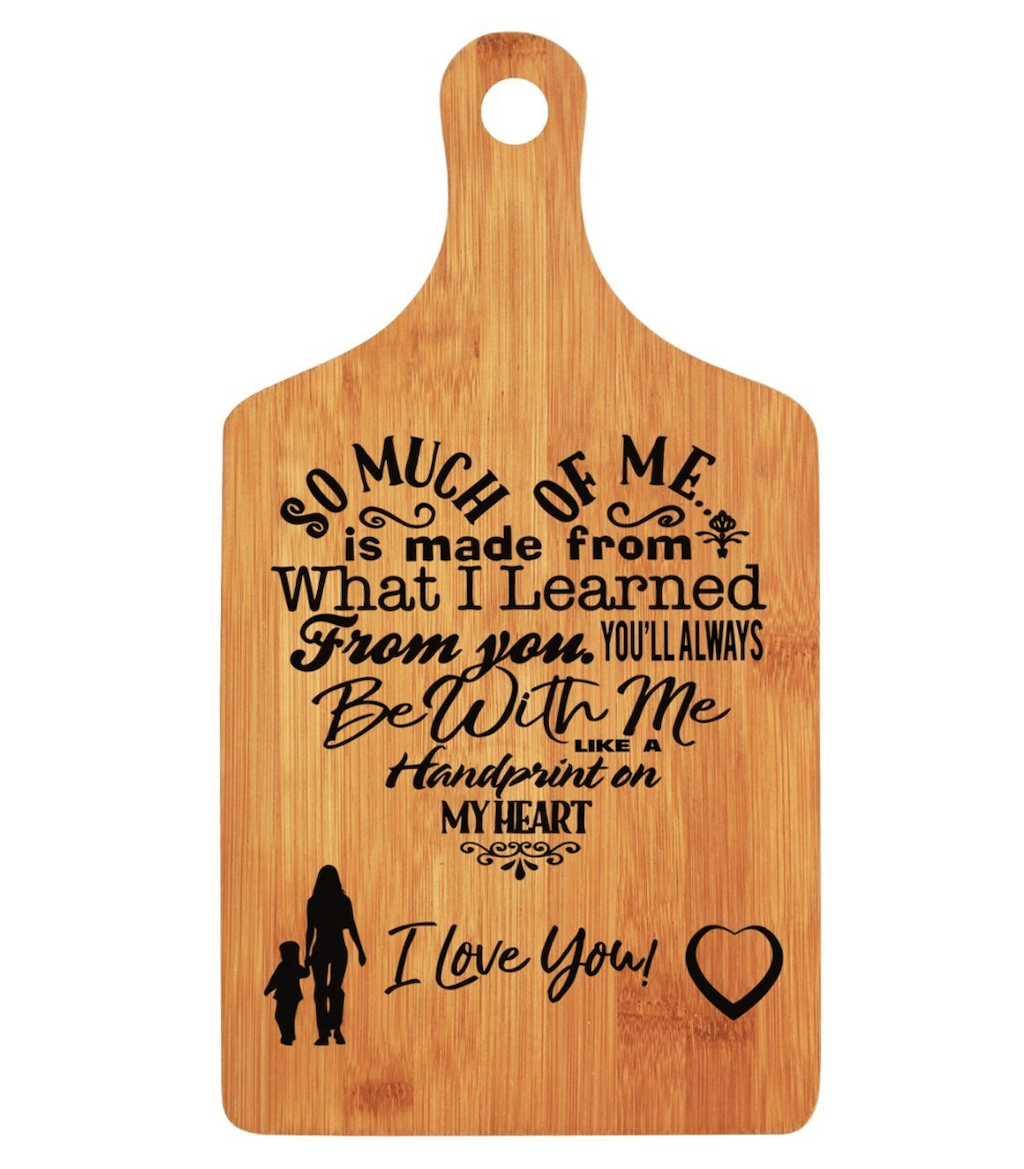 burnt words cutting board