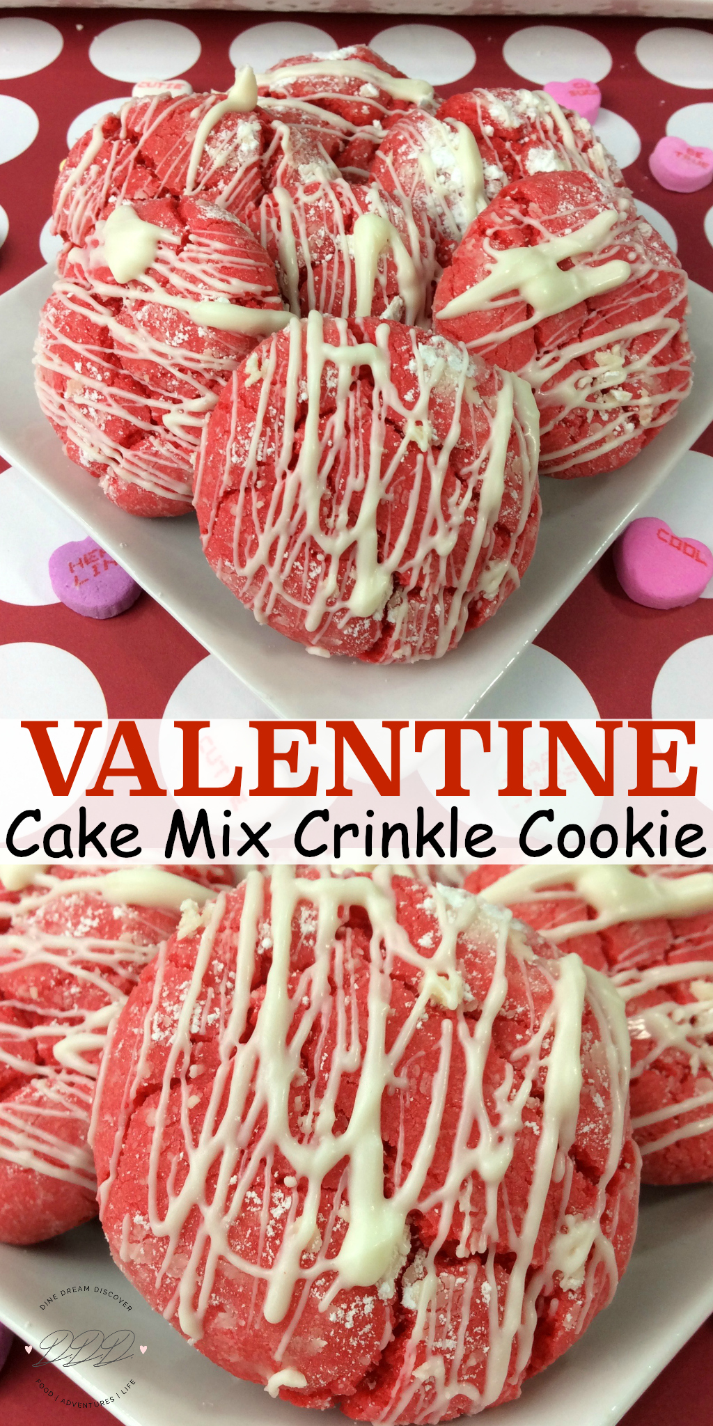 A deliciously and easy Valentine Cake Mix Crinkle Cookie recipe made with a white cake mix and topped with white chocolate drizzle.