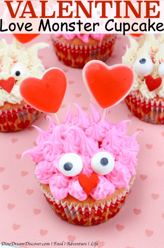 A fun Valentine Love Monster Cupcake Recipe that looks like a rugged monster that is perfect for the class or office party.