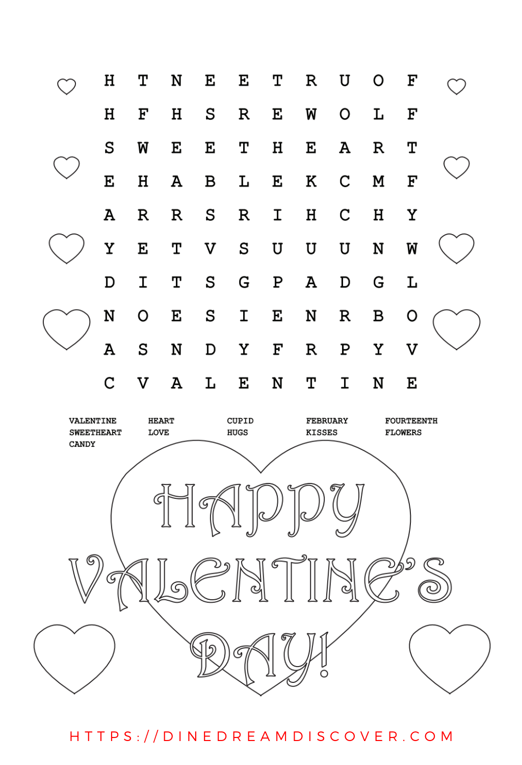 valentine word search pdf