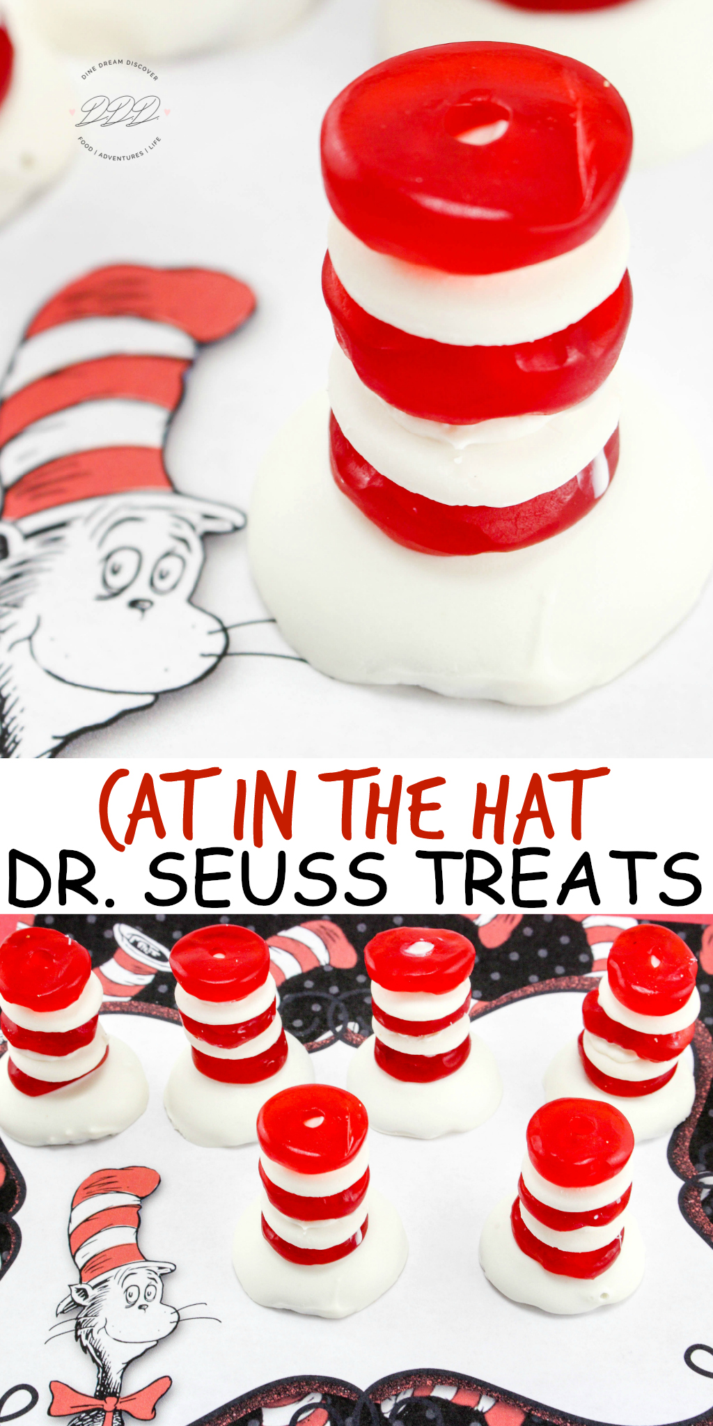 An easy Cat in the Hat Dr. Seuss Treats made with vanilla wafers, <a href=