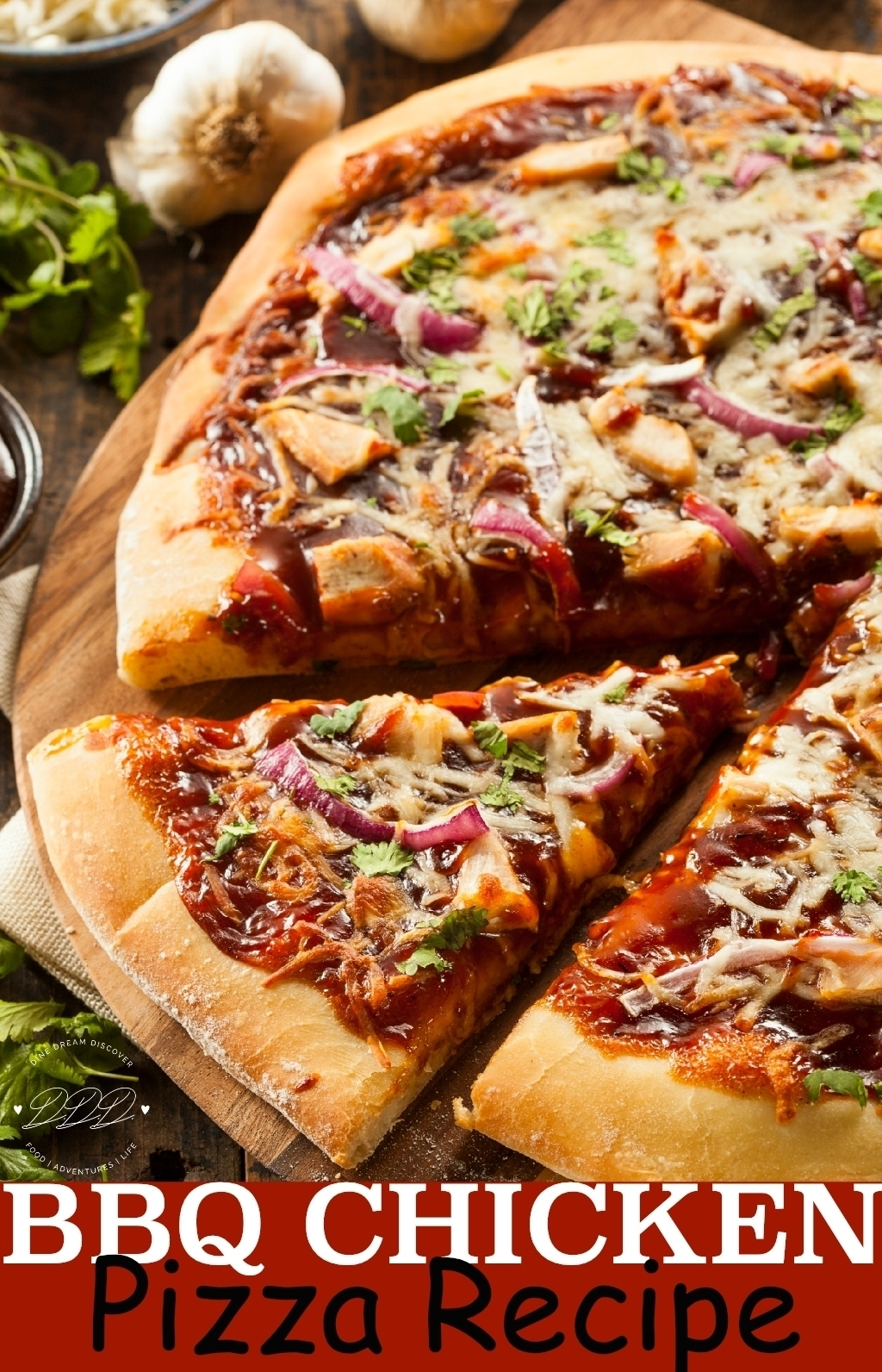 A delicious and easy BBQ Chicken Pizza recipe that can also be made with a cauliflower pizza crust and rotisserie chicken along with your favorite Memphis BBQ sauce.