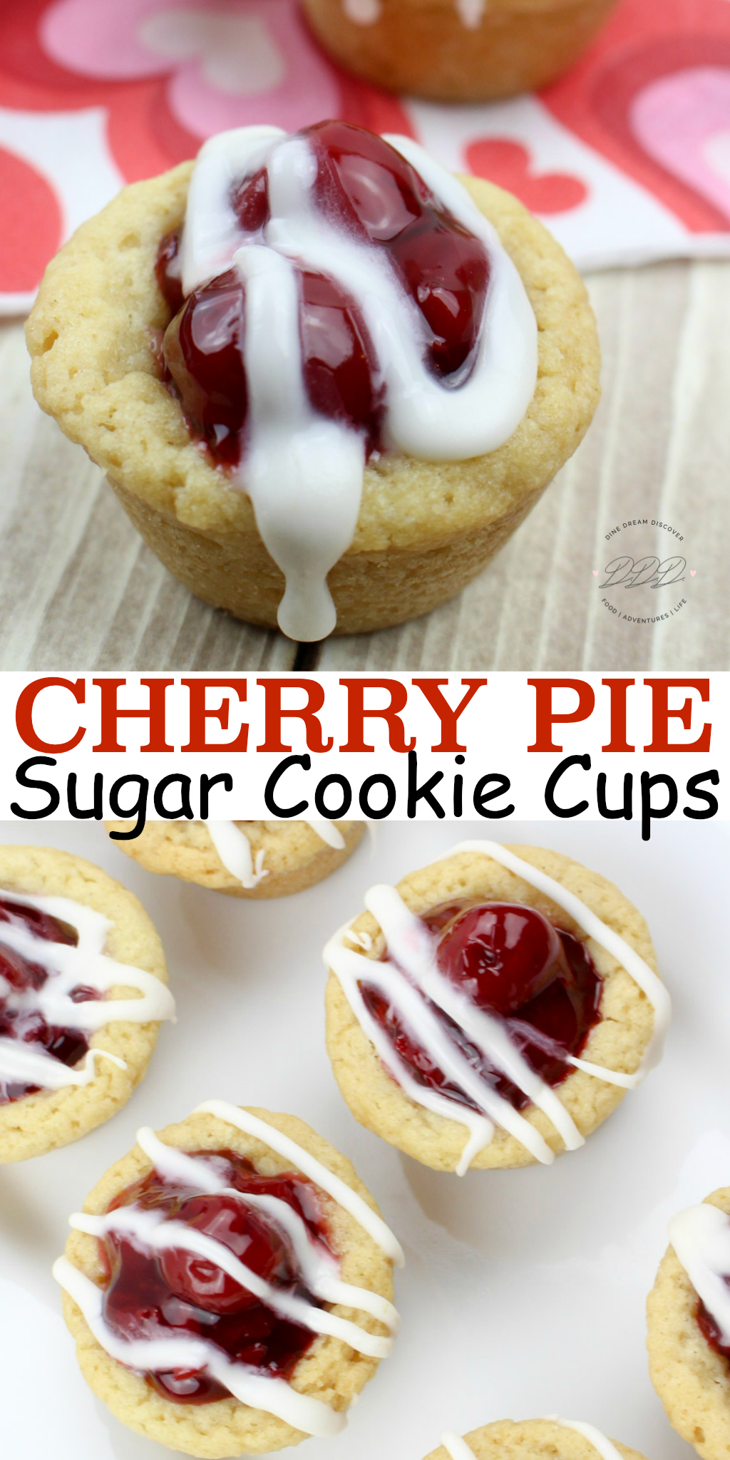 The Cherry Pie Cookie Cups recipe is my favorite cherry recipe. Cherry Pie Cookies are like mini cherry pies. Cherry sugar cookie cups are filled with cherry pie filling.