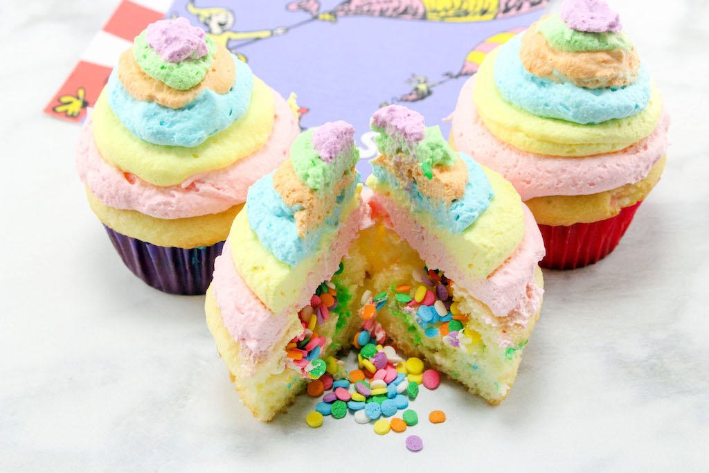 Joining our other Dr. Seuss recipes is our Dr. Seuss Oh, The Places You'll Go Cupcakes recipe is a funfetti cupcake with a surprise inside.