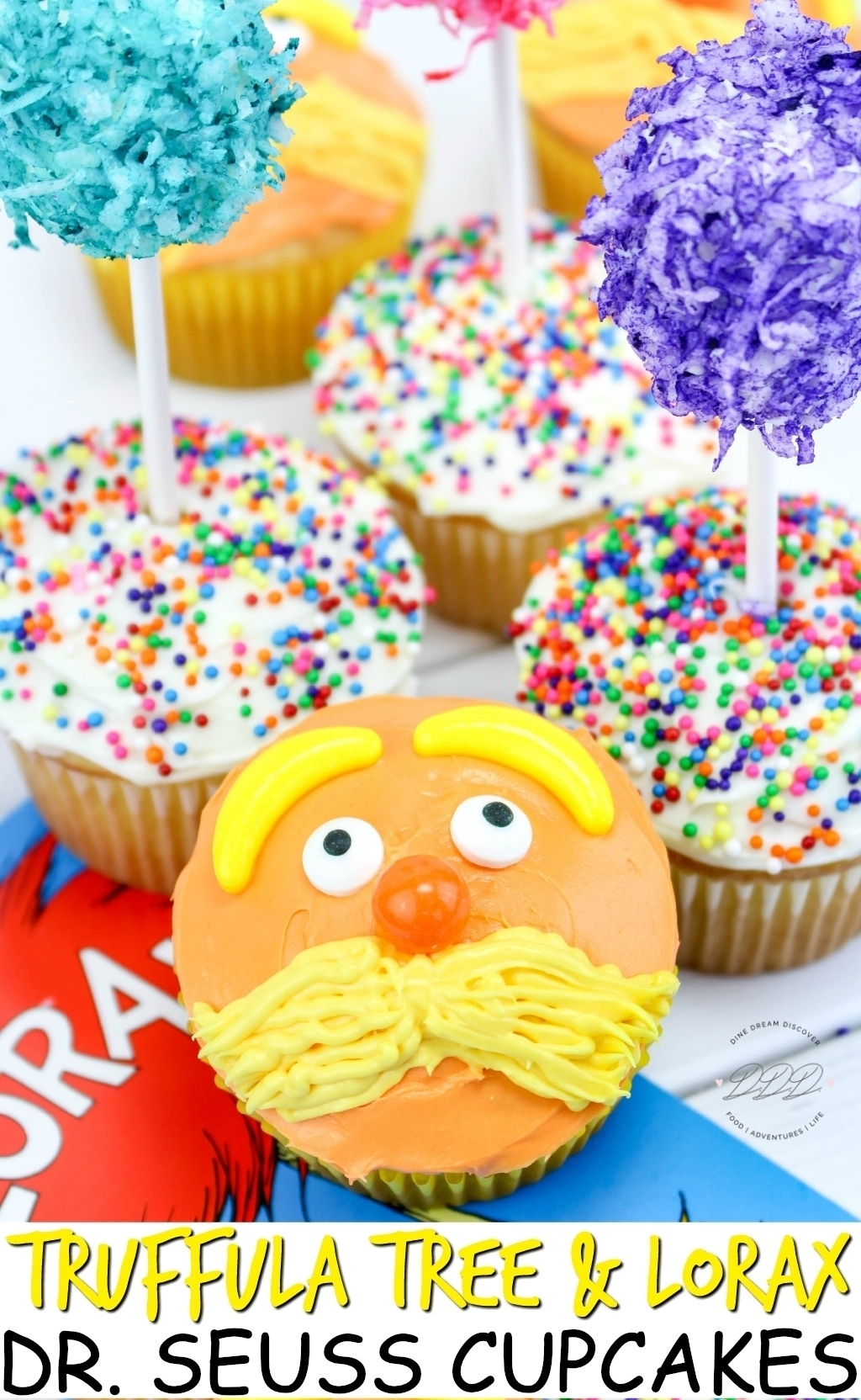 Today we are sharing our last Dr. Seuss recipe with the Truffula Tree and Lorax Cupcakes recipe in honor of his birthday.