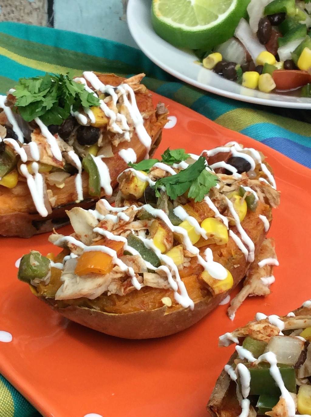 Mexican Stuffed Sweet Potato are loaded with fiber and vitamin A, but low in fat and calories. Made with rotisserie chicken stuffed sweet potatoes makes for a fast and easy baked sweet potato recipe.