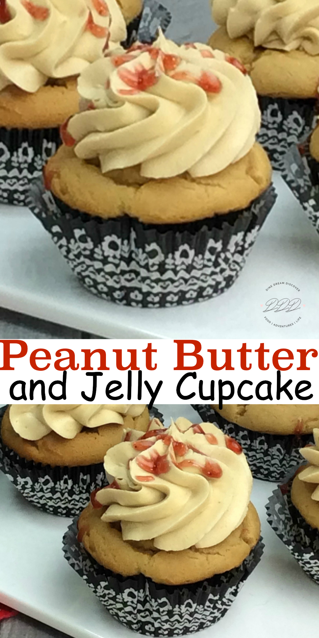 Peanut Butter and Jelly Cupcake takes a childhood classic is a rich and delicious jelly filled cupcake and peanut butter frosting for National PB&J Day.