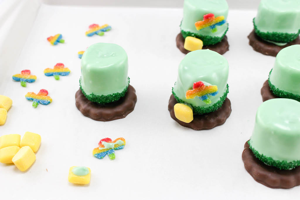 Celebrate the luck of the Irish with a mint cookie topped with a green marshmallow to look like leprechaun hats just in time for St. Patrick's Day!