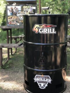 Looking like an old oil drum, the 4Grill can grill, smoke, slow cook, and be your fire pit and is compact enough to take in your car.