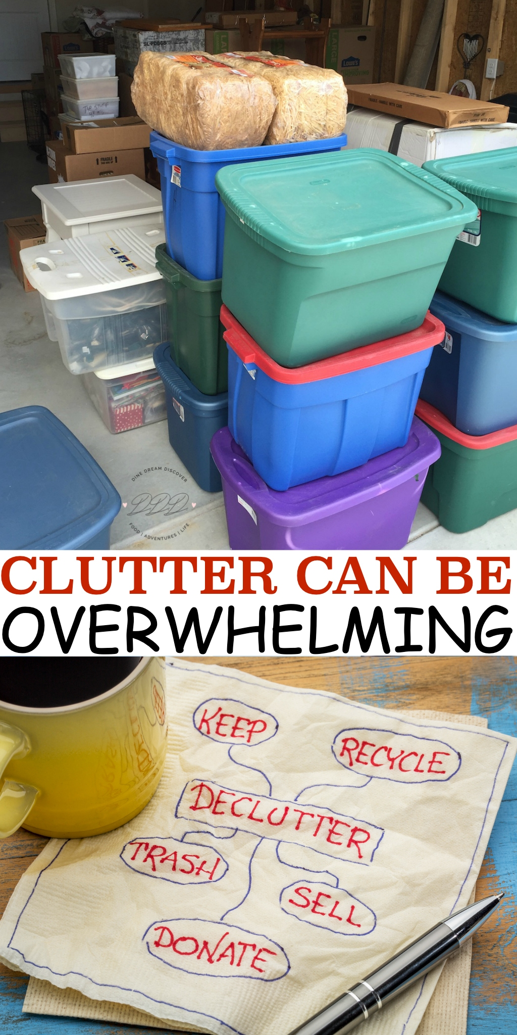 Clutter can get out of control and important items are scattered everywhere, or buried under a mountain of stuff. Here are some tips to declutter.