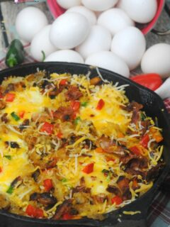A perfect cast iron skillet southwest breakfast casserole campfire meal with all your favorites, eggs, hash browns, bacon, peppers, jalapenos, and cheese.