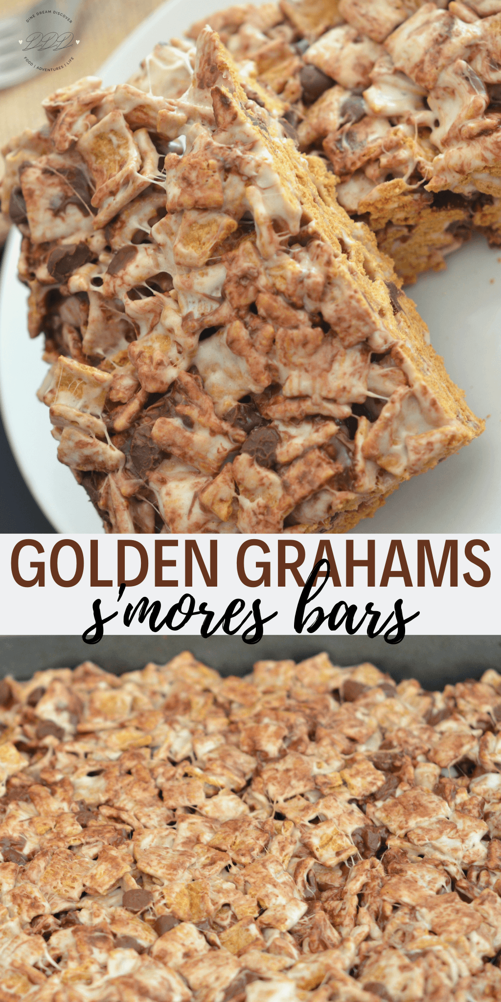 Bringing all your favorite flavors together with marshmallows, Golden Graham cereal and chocolate chips in this easy with the Golden Graham S'mores Bars recipe.