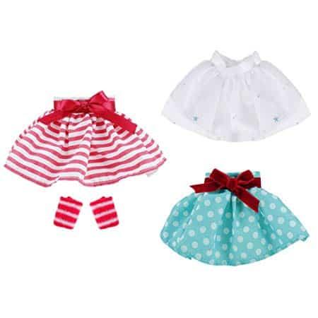 E-TING 3 Pcs Santa Couture Clothing for elf (White Skirt + Green Polka Dot Skirt + Red-White Striped Skirt)