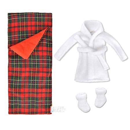 E-TING Sleeping Bag Christmas Accessory for Elf Doll (Doll is not Included) (Sleeping Bag + Bathrobe)