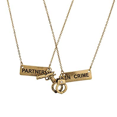 Lux Accessories Partners in Crime Gun Handcuff Friendship BFF Necklace