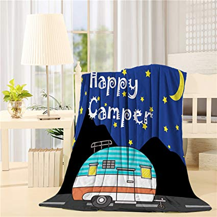SUN-Shine Super Soft Lightweight Throw Blankets Cozy Warm Microfiber Blanket for Bed Couch Chair Camping Travel All Seasons Daily Use Living Room Bedroom,Happy Camper Night Camping Sky Moon and Stars