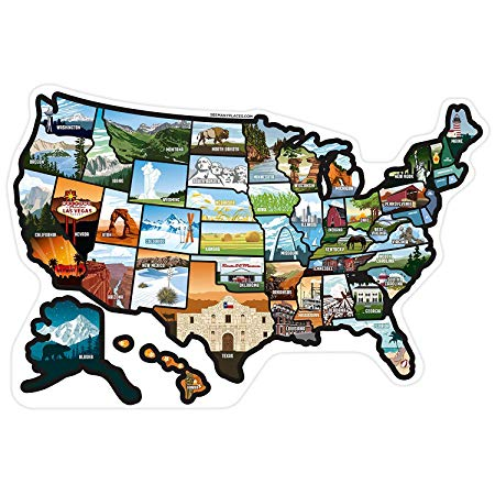 RV State Stickers United States Travel Camper Map RV Decals for Window, Door, or Wall ~ Includes 50 State Decal Stickers with Scenic Illustrations See Many Places