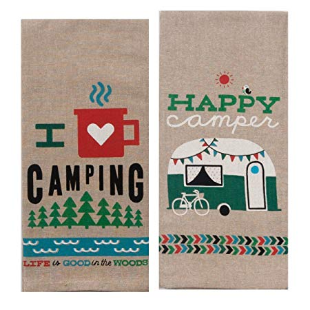 Kay Dee Designs Camping Adventures Chambray Towel Set - One Each Happy Campe; I Heart Camping