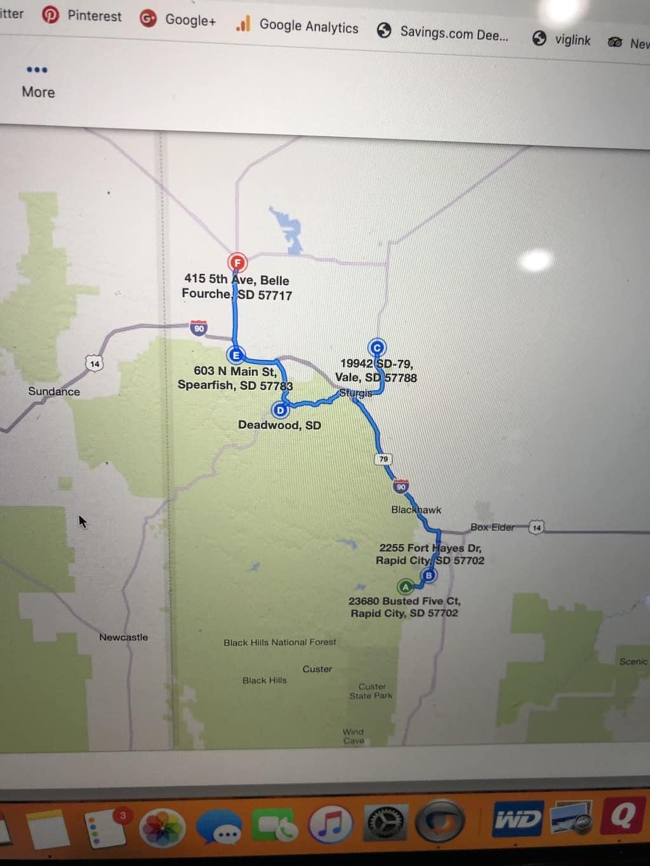 day trip map deadwood south dakota