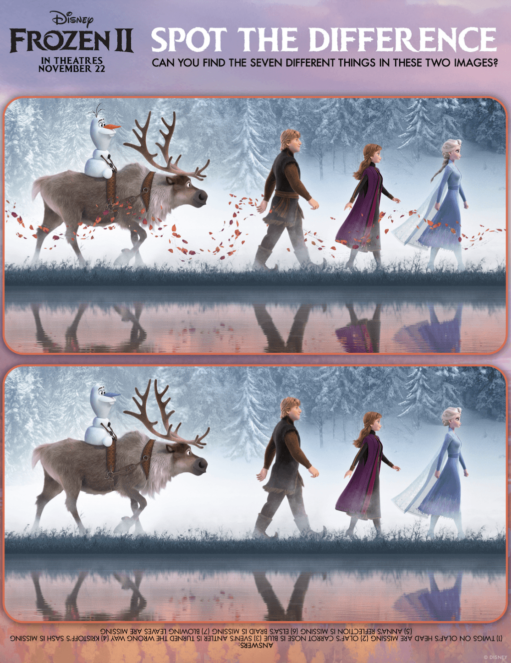 frozen 2 spot the difference