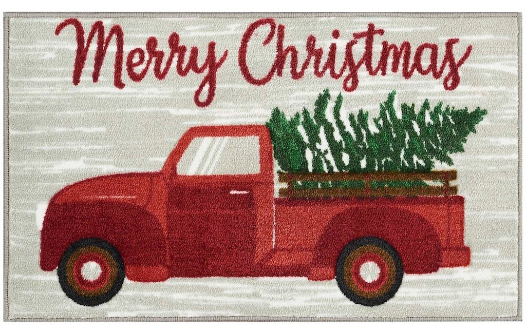 Merry Christmas Truck With Tree Accent Rug