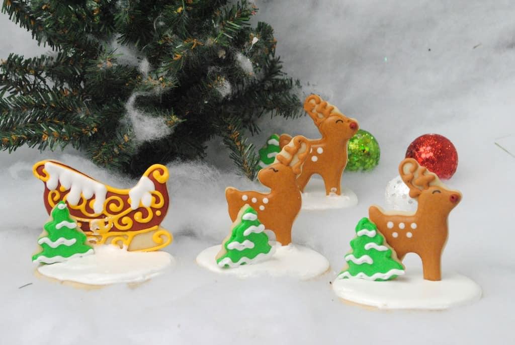 Sleigh and reindeer sugar cookies