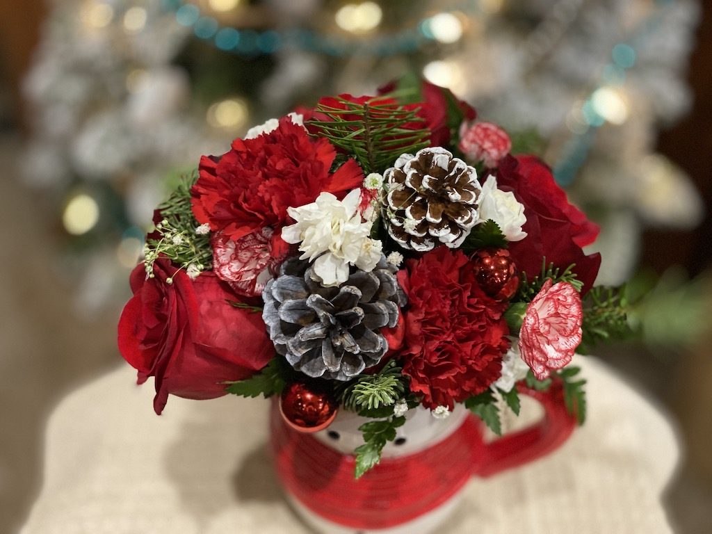 flowers in snowman mug teleflora holiday bouquets