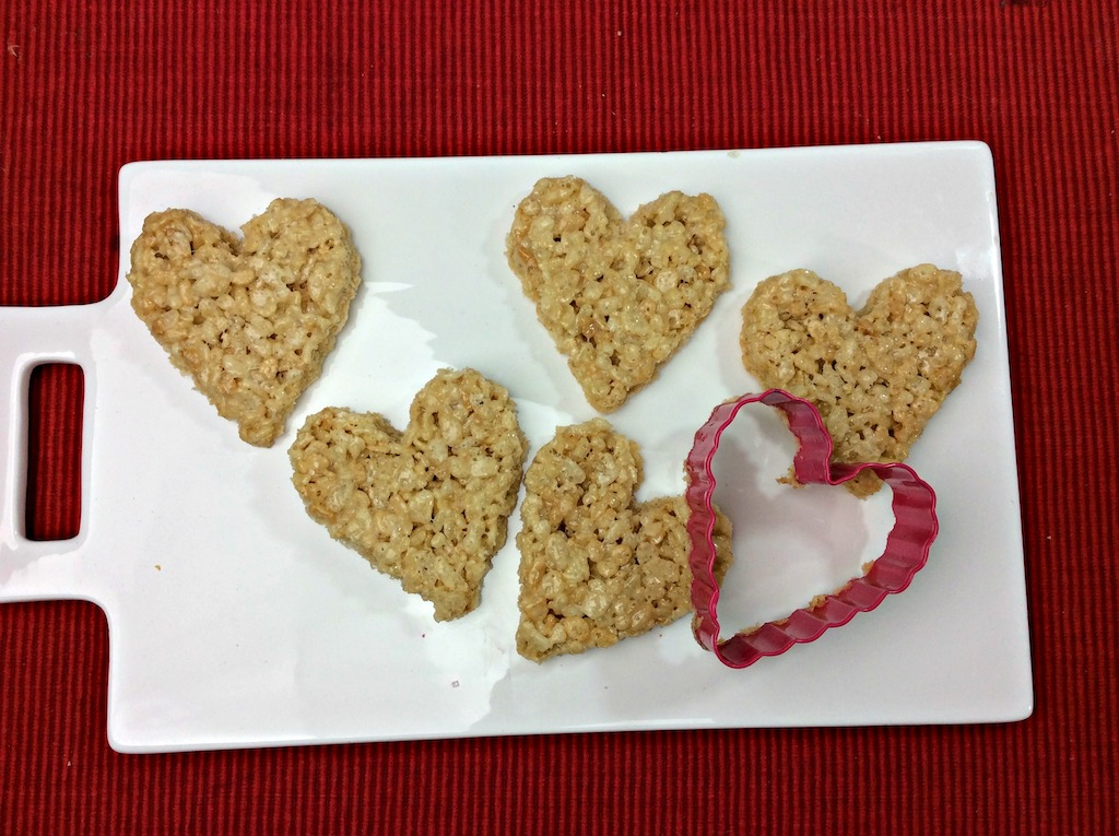 cut out heart rice krispy treats