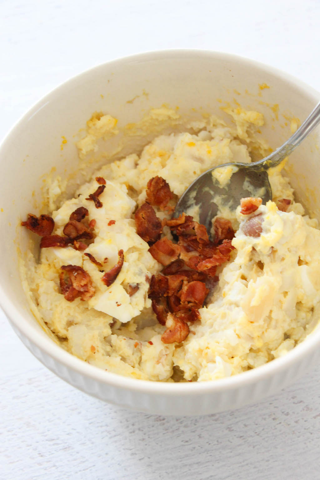 chopped bacon in potato salad in instant pot