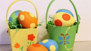 Easter Basket {Painted Paper Mache Basket and Eggs} @decoart_inc