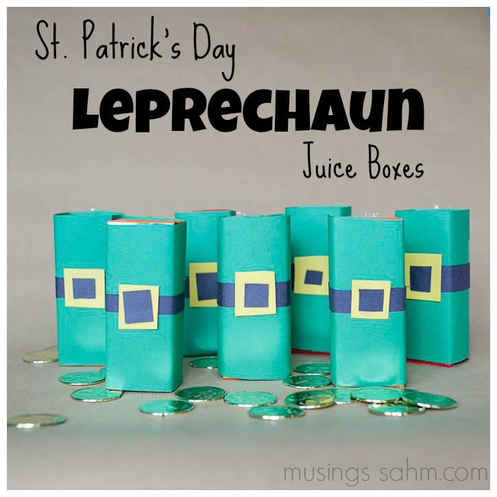 DIY St. Patrick's Day Leprechaun Juice Boxes