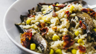 Instant pot mushroom risotto with bacon and corn - Savory Tooth