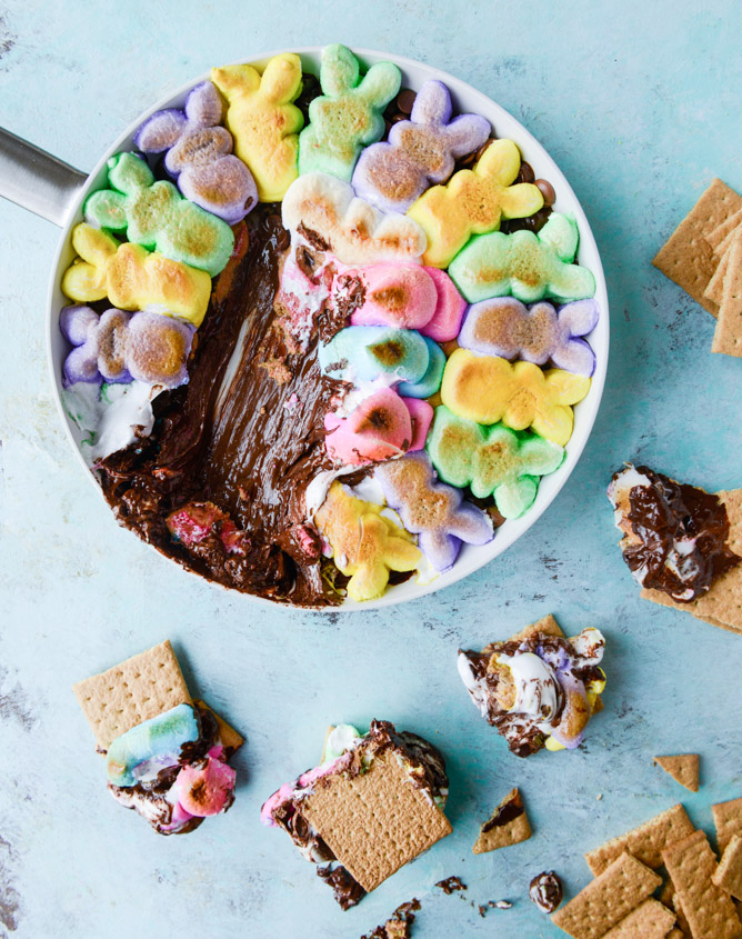 Peep's S'mores - Chocolate Peanut Butter PEEPS Skillet S'mores
