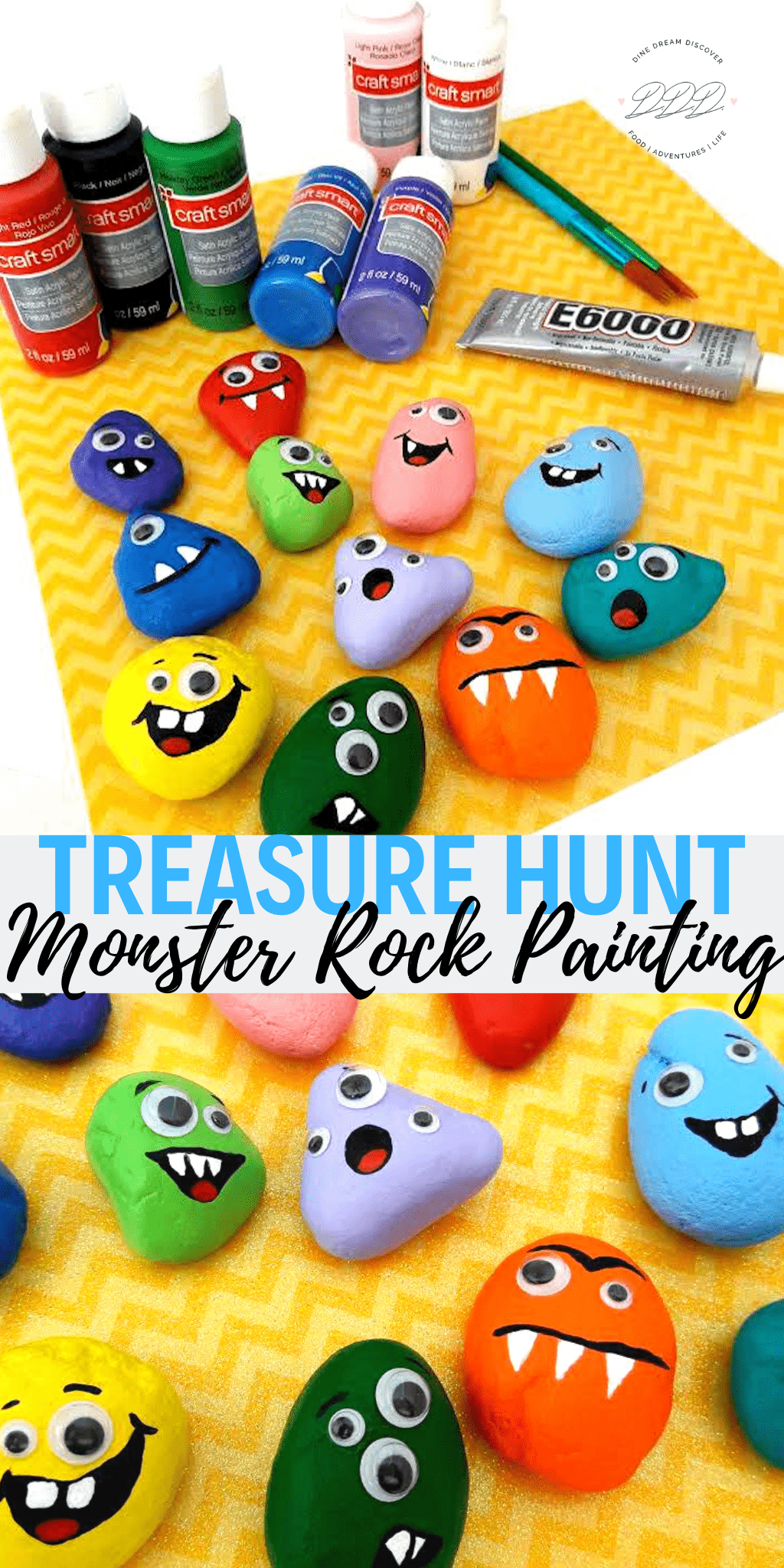 monster treasure hunt painted rocks