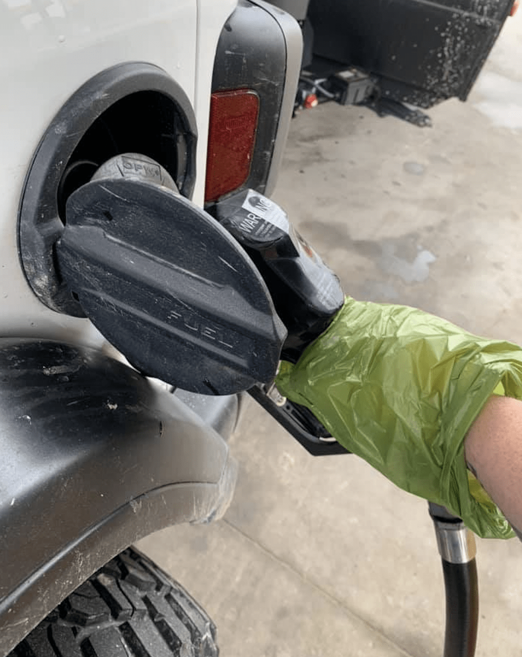 getting gas with gloves