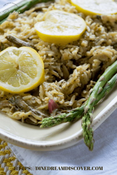 lemon garlic orzo with asparagus