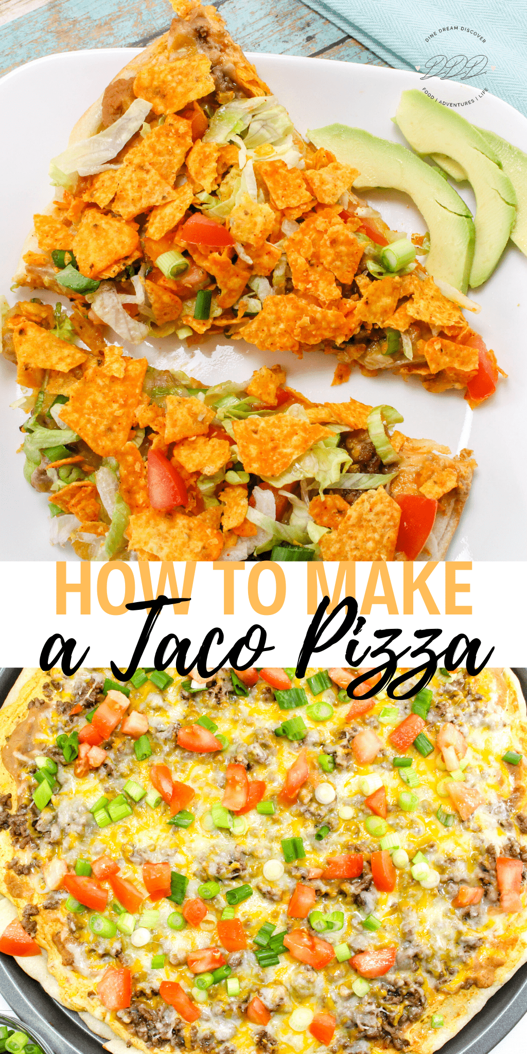 With simple ingredients, you can whip up this filling meal in under 30 minutes! This easy taco pizza is made with a Pillsbury Pizza crust and a tasty hit with the whole family. #DineDreamDiscover #recipe #dinner #easyrecipe #tacopizza #tacopizzarecipe #snacks #appetizers #tacos #TacoTuesday