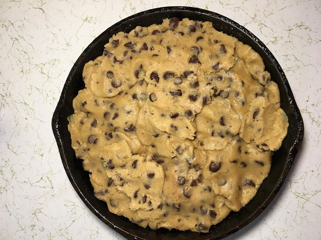cast iron skillet cookie with pre made dough