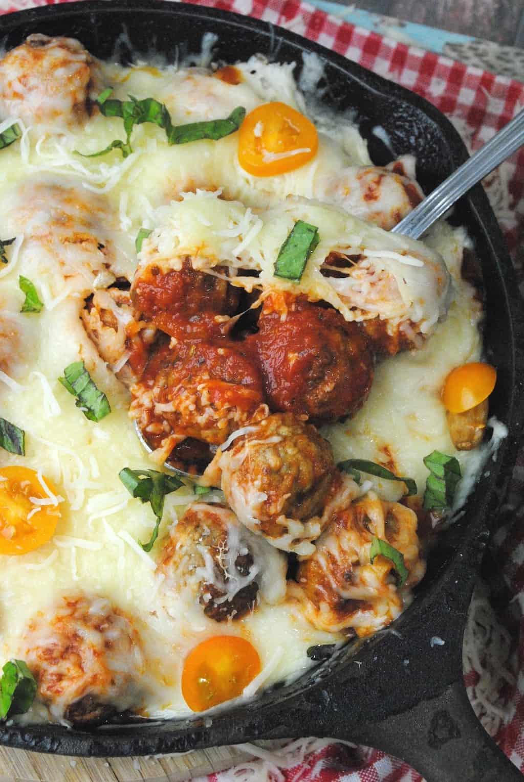 spaghetti and meatballs cast iron