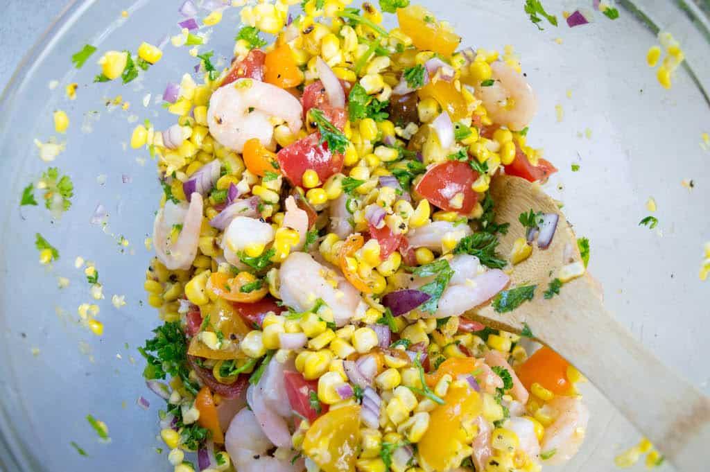 corn basil shrimp