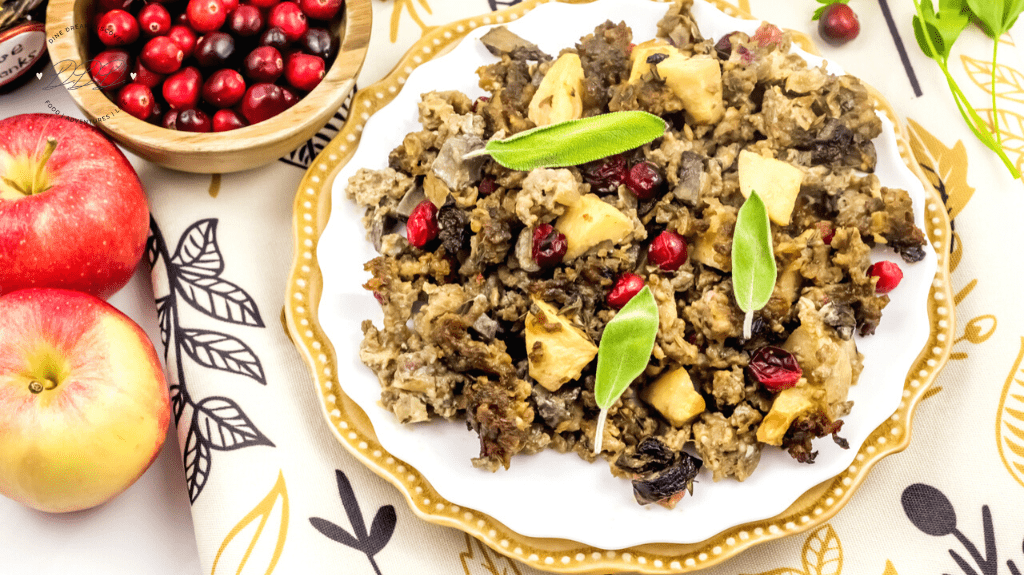 Paleo Apple and Cranberry Sausage Stuffing