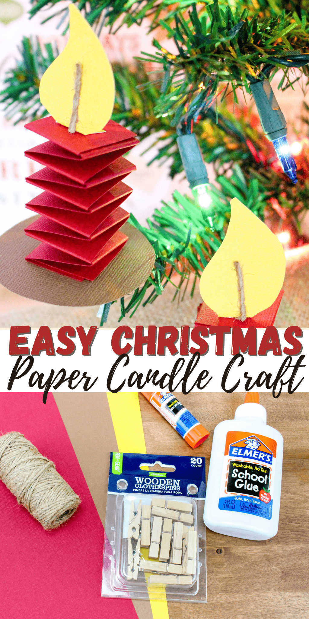 Easy Paper Christmas Candles Craft