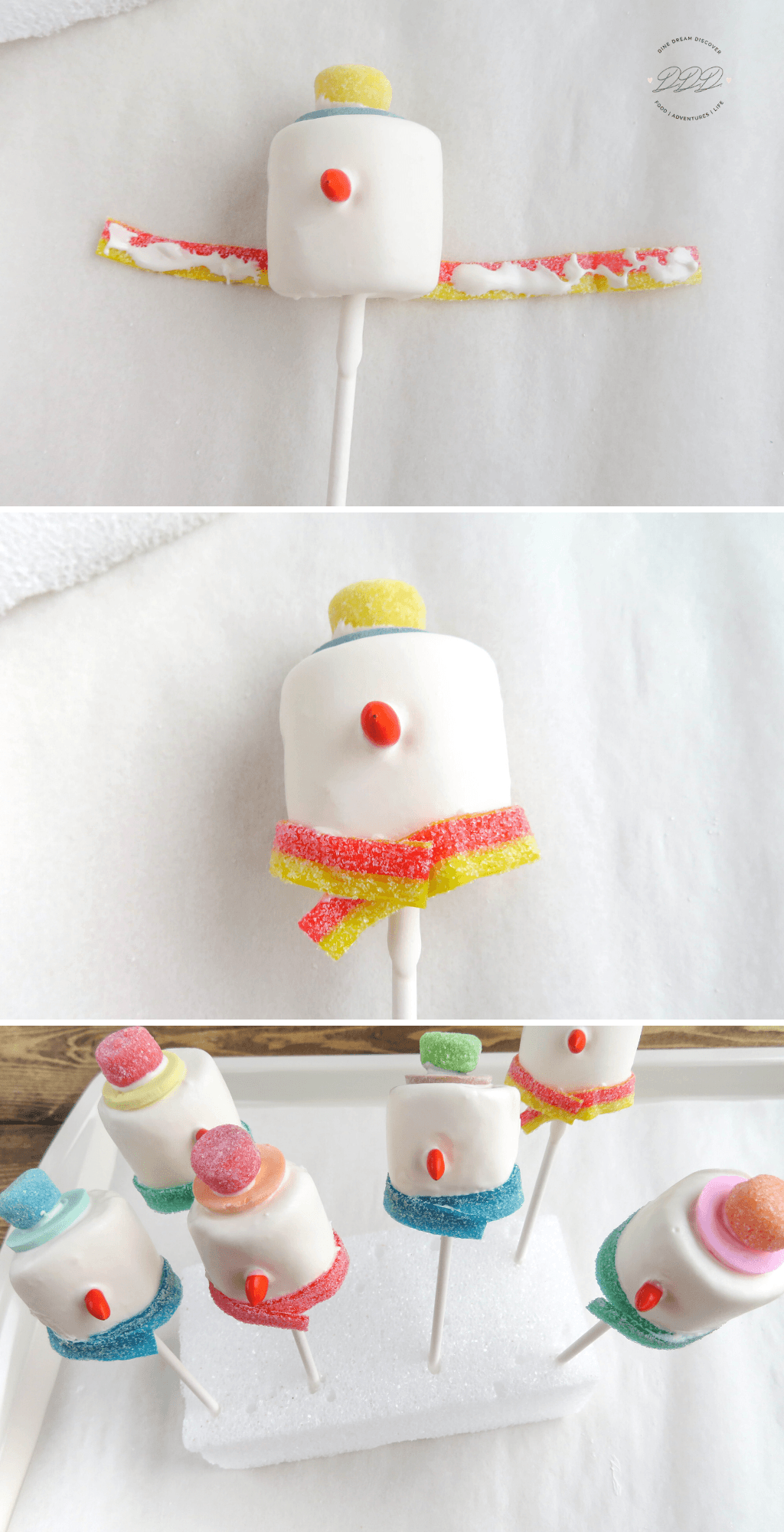 marshmallow pops with frosting Snowman Marshmallow Pops