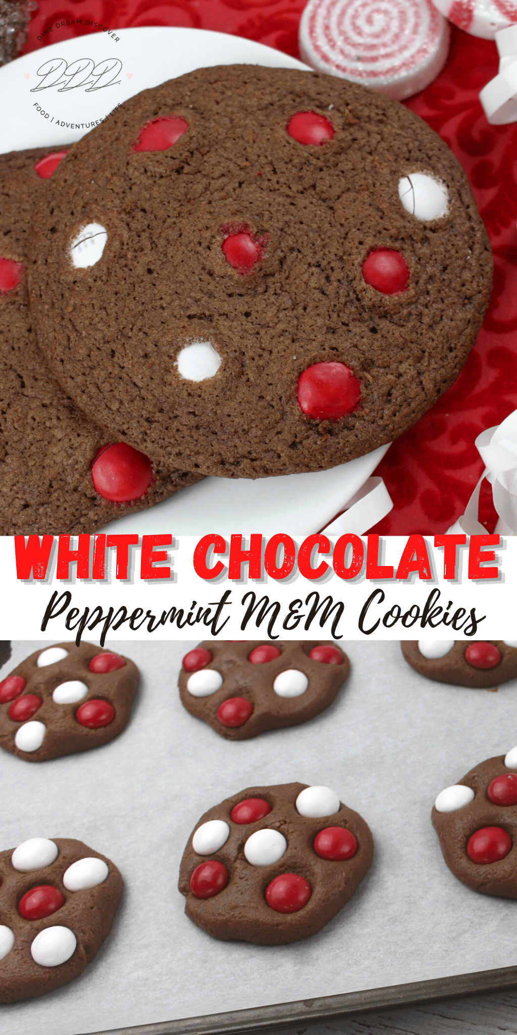 Homemade White Chocolate Peppermint M&M Cookies