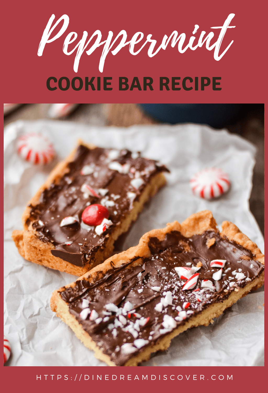 peppermint bark cookie squares