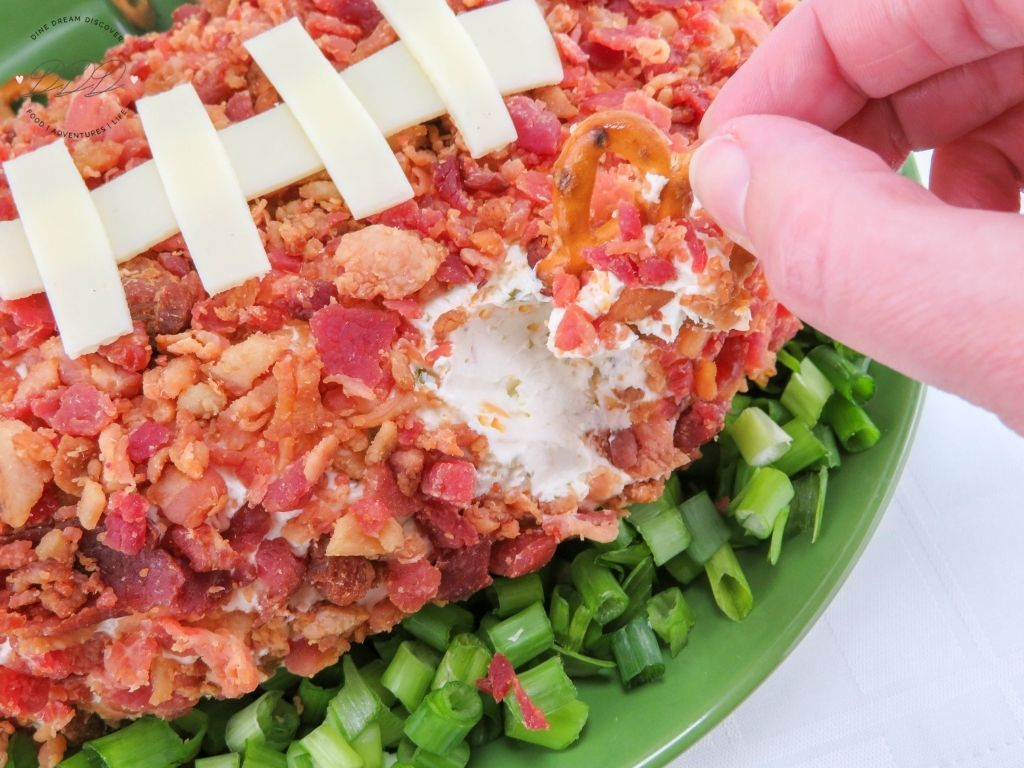 ootball cheese ball with bacon