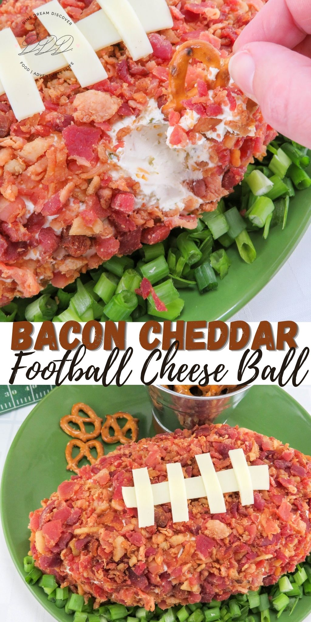 Easy Bacon Cheddar Football Cheese Ball