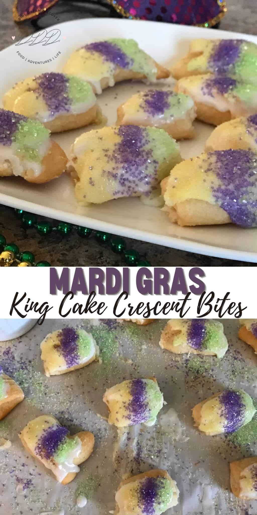 Mardi Gras King Cake Crescent Bites