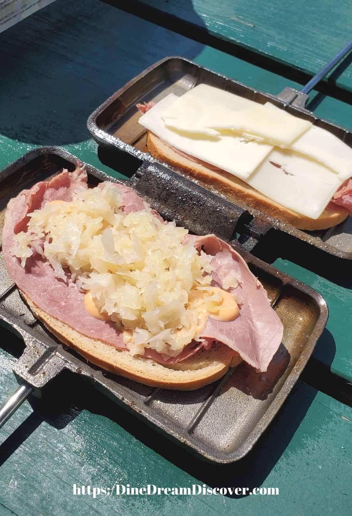 sauerkraut and swiss cheese on rye bread
